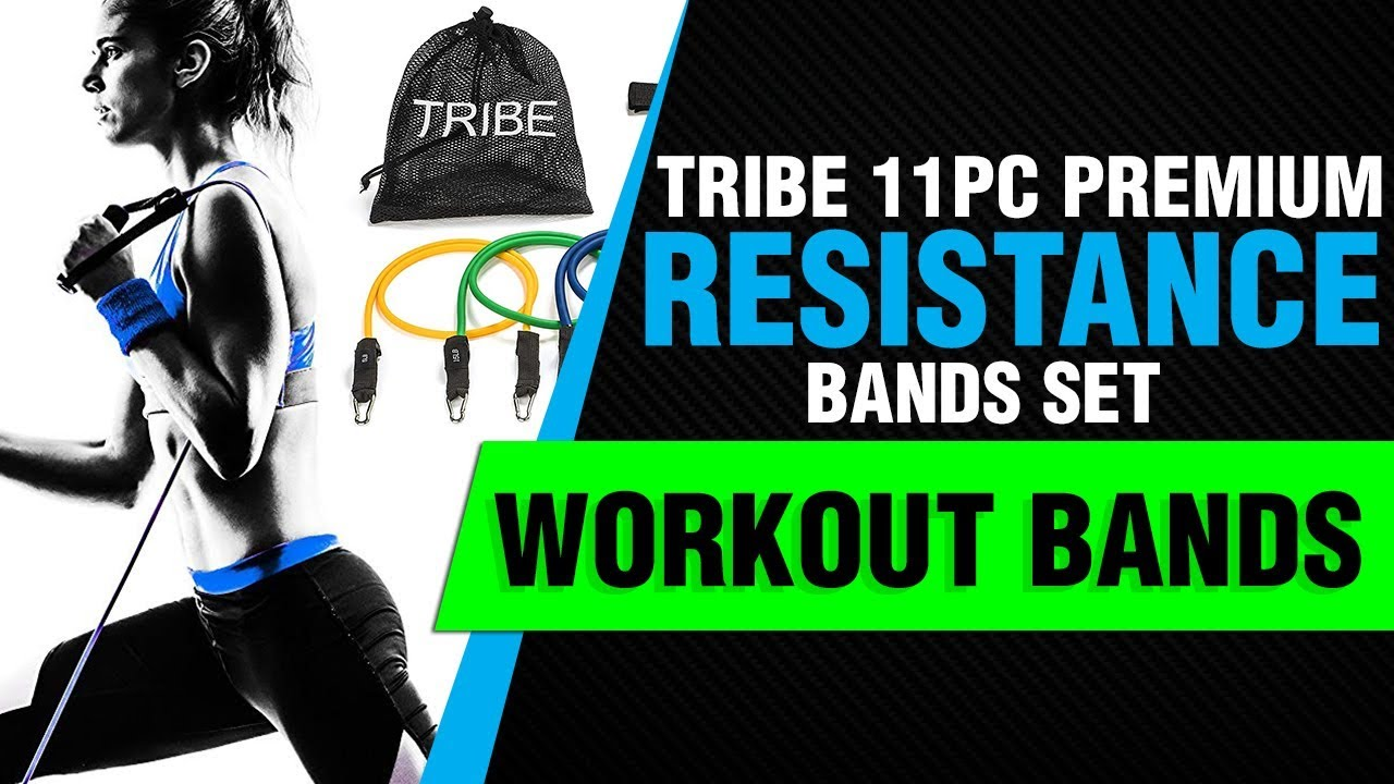 Tribe 11PC Premium Resistance Bands Set, Workout Bands - with Door